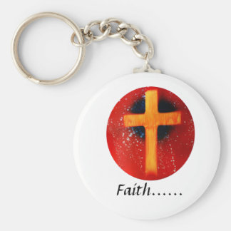 Yellow cross red back religious spraypainting basic round button keychain