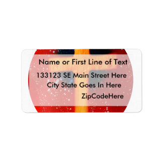 Yellow cross red back religious spraypainting label