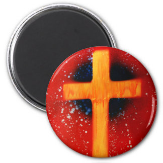 Yellow cross red back religious spraypainting magnets