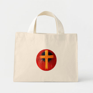 Yellow cross red back religious spraypainting mini tote bag