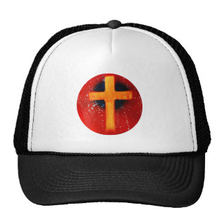 Yellow cross red back religious spraypainting trucker hat