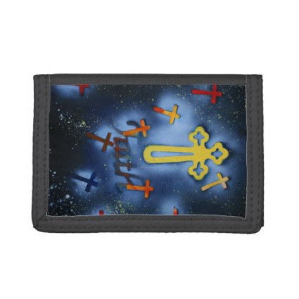 yellow cross spacepainting faith trifold wallets
