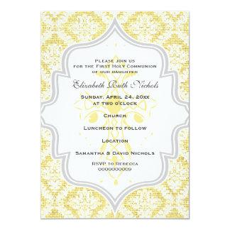 Yellow Cross white damask burlap First Communion Card