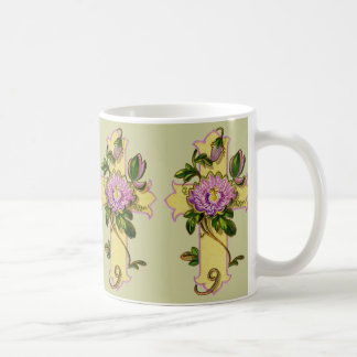 Yellow Cross With Pink Flower Coffee Mug