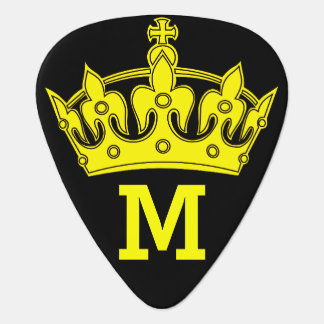 Yellow Crown Monogram Personalized Guitar Pick