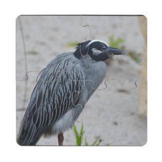 Yellow Crowned Night Heron Bird Puzzle Coaster