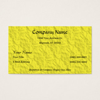 Yellow Crumpled Paper Designer Faux Finish Business Card