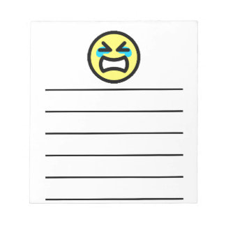 Yellow Crying Smiley Face Note Pad
