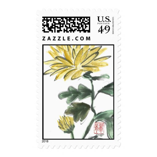 Yellow Crysanthemum, Sumi-e in color Postage Stamp