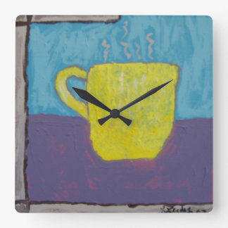Yellow Cup Painting Wall Clock