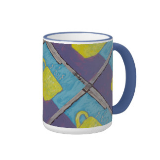 Yellow Cup Painting Ringer Coffee Mug