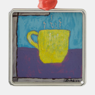 Yellow Cup Painting Square Metal Christmas Ornament