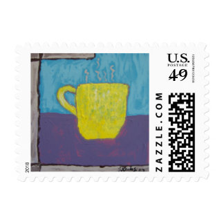 Yellow Cup Painting Postage Stamp