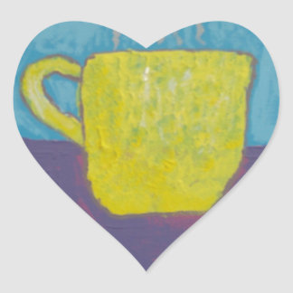 Yellow Cup Painting Heart Sticker