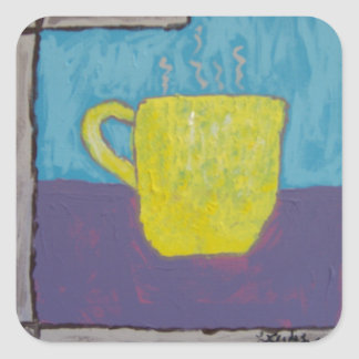 Yellow Cup Painting Square Sticker