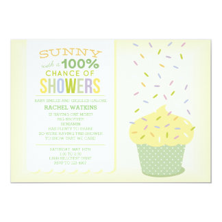 Yellow Cupcake Baby Sprinkle Invitation