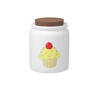 Yellow Cupcake Candy Jars