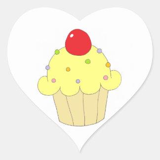 Yellow Cupcake Heart Sticker
