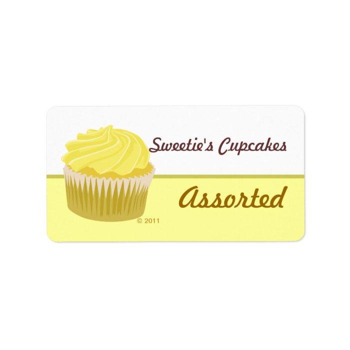 Yellow Cupcake Labels