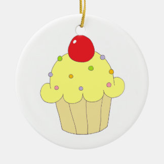 Yellow Cupcake Double-Sided Ceramic Round Christmas Ornament