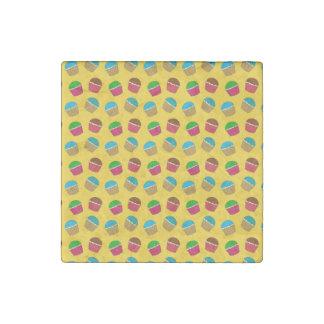 Yellow cupcake pattern stone magnet