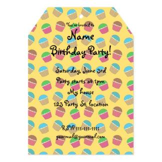 Yellow cupcake pattern 5x7 paper invitation card