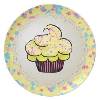 Yellow Cupcake & Pink & Blue Stars Plate