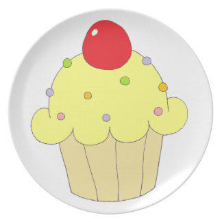 Yellow Cupcake Party Plates