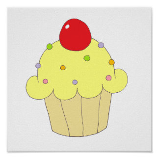 Yellow Cupcake Poster