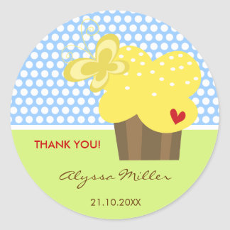 Yellow Cupcake Thank You Birthday Party Gift Tag Round Stickers