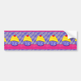 Yellow Cupcake with Blue Background Bumper Sticker