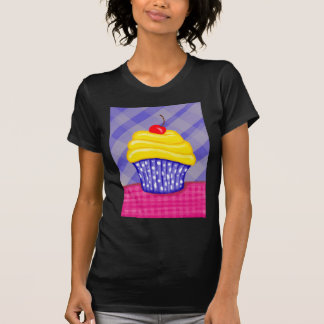 Yellow Cupcake with Blue Background Tshirts
