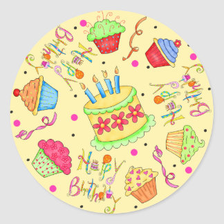 Yellow Cupcakes and Cake Happy Birthday Classic Round Sticker