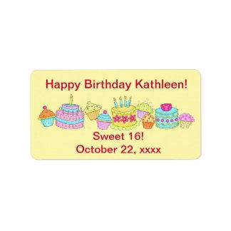 Yellow Cupcakes /Cake Happy Birthday Sweet 16 Label