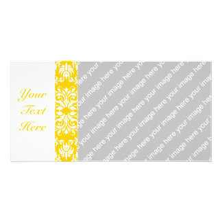 Yellow + Custom Color Damask Pattern Card