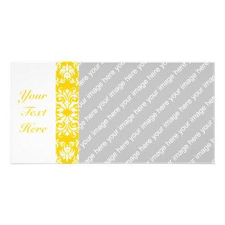 Yellow + Custom Color Damask Pattern Card
