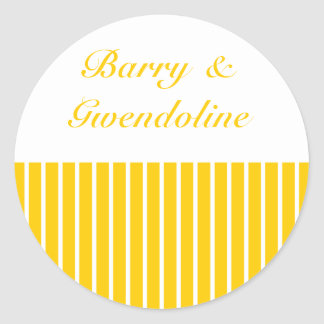 Yellow + Custom Color Narrow Stripes Classic Round Sticker