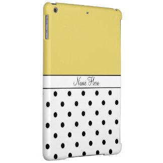 Yellow Custom Name, Black & White Polka Dots iPad Air Covers