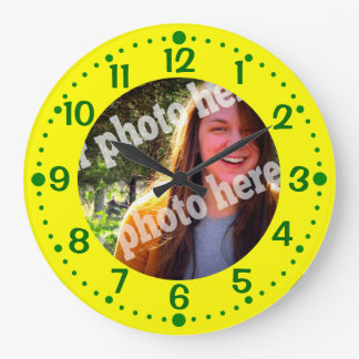 Yellow Custom Photo Clock w Green Minutes Template