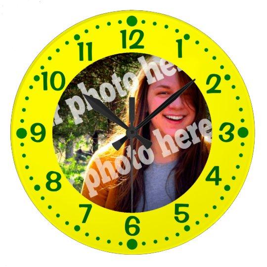 Yellow Custom Photo Clock w Green Minutes Template