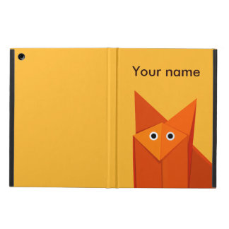 Yellow Cute Origami Fox Personalized Folio iPad Air Cover