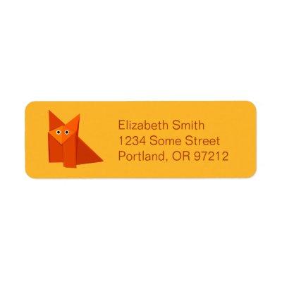 Yellow Cute Origami Fox Return Address Labels