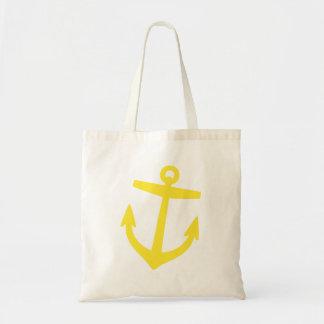 Yellow Cute Preppy Nautical Anchor Tote Bag