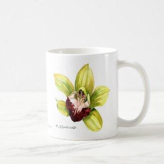 Yellow Cymbidium Orchid Mug