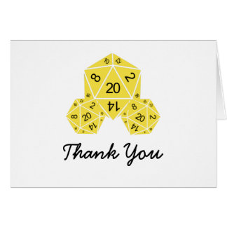 Yellow D20 Dice Thank You Card