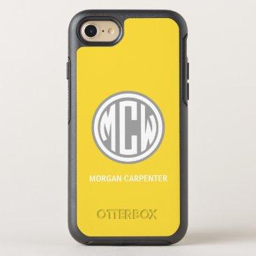 Yellow D Gray 3I White Circle Monogram Font DIY BG OtterBox Symmetry iPhone 8/7 Case