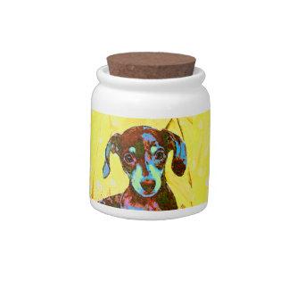 yellow dachshund treat jar candy jars