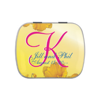 Yellow Daffodil 3d Monogram Jelly Belly Candy Tins