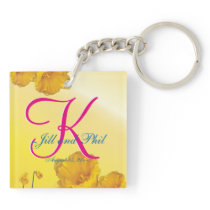 Yellow Daffodil 3d Monogram Keychain
