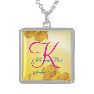 Yellow Daffodil 3d Monogram Sterling Silver Necklace